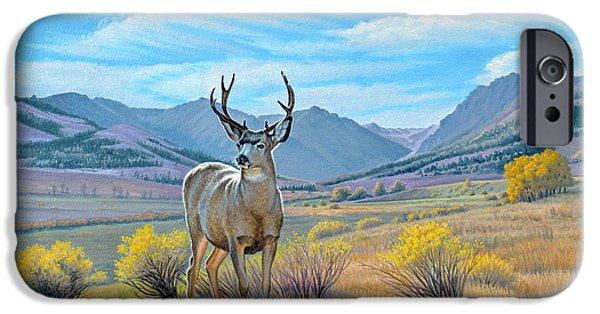 Fall Scenes Paintings iPhone Cases - Buck Deer-Tom Miner Basin iPhone Case by Paul Krapf