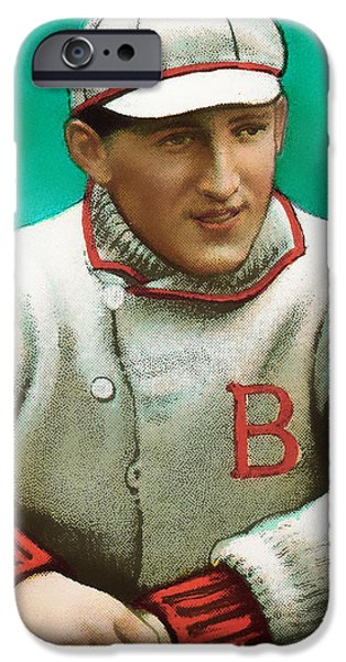 Red Sox iPhone Cases - Buck Herzog Boston Braves Baseball Card 0500 iPhone Case by Wingsdomain Art and Photography