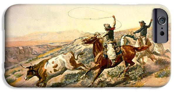 Roping Horse iPhone Cases - Buckaroos iPhone Case by Charles Russell