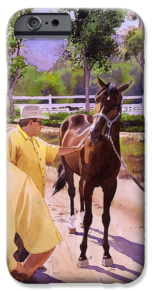 Race Horse Paintings iPhone Cases - Buckets of Money Honey iPhone Case by Mary Helmreich