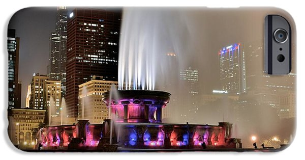 Chicago Cubs iPhone Cases - Buckingham Fountain Aglow iPhone Case by Frozen in Time Fine Art Photography