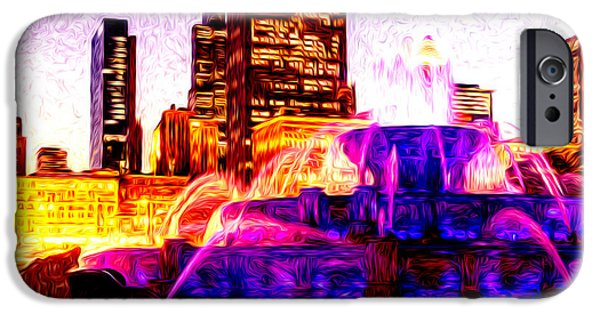 Sears Tower iPhone Cases - Buckingham Fountain at Night Digital Painting iPhone Case by Paul Velgos