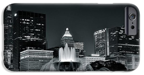 Willis Tower iPhone Cases - Buckingham Fountain Black and White iPhone Case by Frozen in Time Fine Art Photography