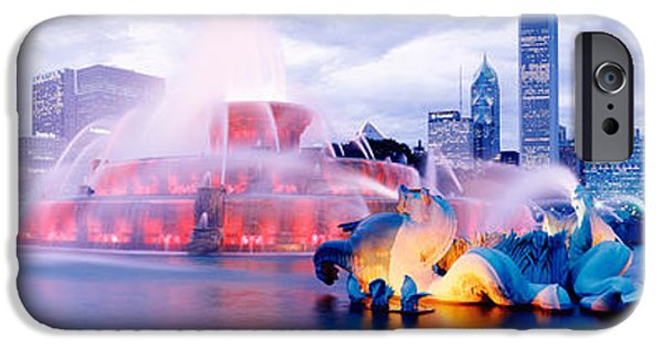Il iPhone Cases - Buckingham Fountain Chicago Il iPhone Case by Panoramic Images