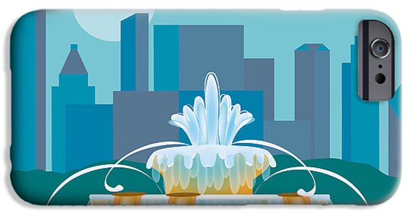 Wall Greeting Cards Digital iPhone Cases - Buckingham Fountain Chicago iPhone Case by Karen Young