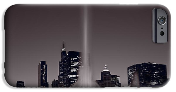Twilight iPhone Cases - Buckingham Fountain Nightlight Chicago BW iPhone Case by Steve Gadomski