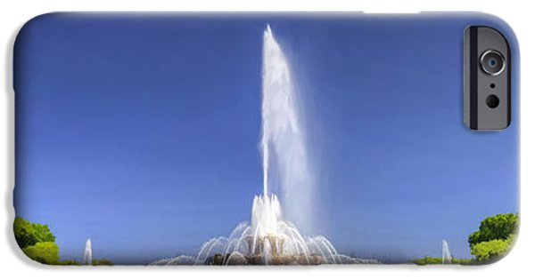 Grant Park Paintings iPhone Cases - Buckingham Fountain Panorama iPhone Case by Christopher Arndt