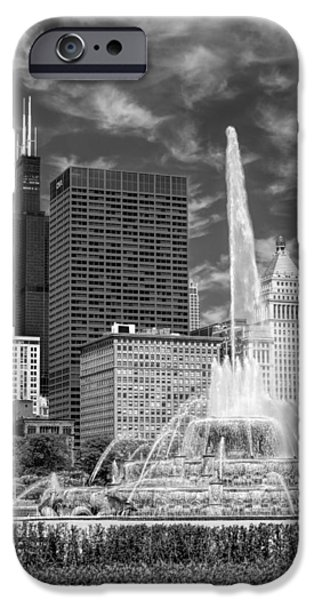 Willis Tower iPhone Cases - Buckingham Fountain Sears Tower Black and White iPhone Case by Christopher Arndt