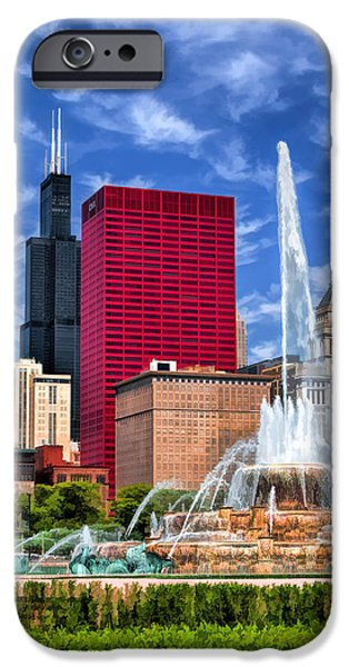 Grant Park Paintings iPhone Cases - Buckingham Fountain Sears Tower iPhone Case by Christopher Arndt