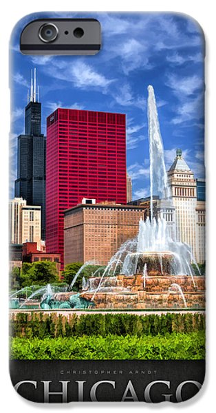 Willis Tower iPhone Cases - Buckingham Fountain Sears Tower Poster iPhone Case by Christopher Arndt