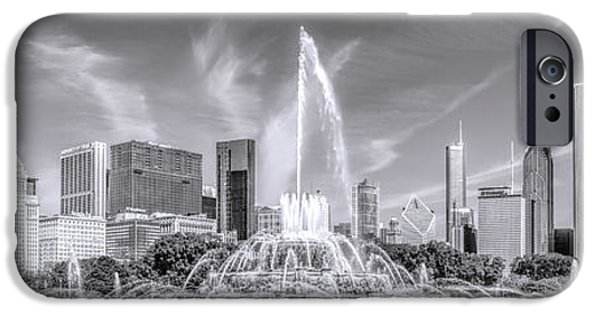 Chicago Photographs iPhone Cases - Buckingham Fountain Skyline Panorama Black and White iPhone Case by Christopher Arndt