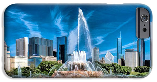 Chicago Paintings iPhone Cases - Buckingham Fountain Skyline Panorama iPhone Case by Christopher Arndt