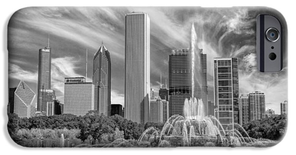 Chicago iPhone Cases - Buckingham Fountain Skyscrapers Black and White iPhone Case by Christopher Arndt