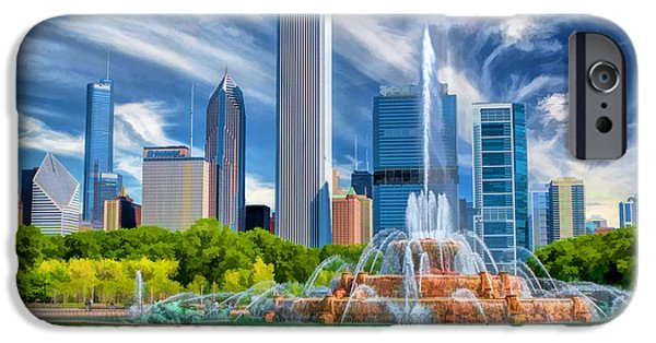 Grant Park Paintings iPhone Cases - Buckingham Fountain Skyscrapers iPhone Case by Christopher Arndt