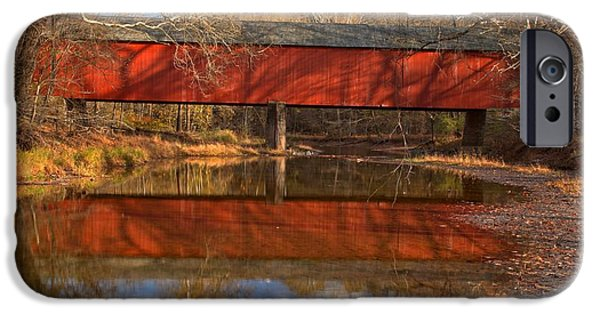 Bucks County iPhone Cases - Bucks County Covered Bridge - Frankenfield Covered Bridge iPhone Case by Adam Jewell