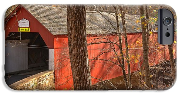 Bucks County iPhone Cases - Bucks County Frankenfield Covered Bridge iPhone Case by Adam Jewell