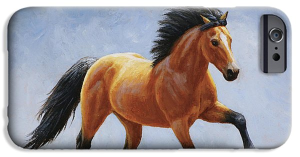 Mustang Horse iPhone Cases - Buckskin Horse - Morning Run iPhone Case by Crista Forest