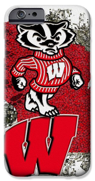 Abstract Digital iPhone Cases - Bucky Badger University of Wisconsin iPhone Case by Jack Zulli