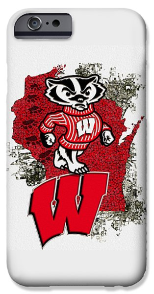 Universities Digital iPhone Cases - Bucky Badger University of Wisconsin iPhone Case by Jack Zulli