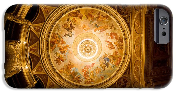 Painted Hall iPhone Cases - Budapest Opera House Ceiling Frescos iPhone Case by Artur Bogacki