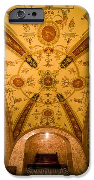 Painted Hall iPhone Cases - Budapest Opera House Foyer Ceiling iPhone Case by Artur Bogacki