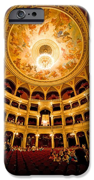 Painted Hall iPhone Cases - Budapest Opera House Interior iPhone Case by Artur Bogacki