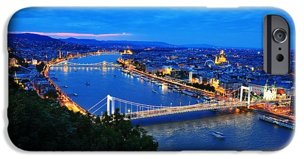 Panoramic Pyrography iPhone Cases - Budapest overview  iPhone Case by Steffen Schumann