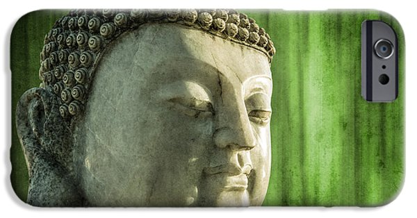 Statue Portrait iPhone Cases - Buddha - bamboo iPhone Case by Hannes Cmarits