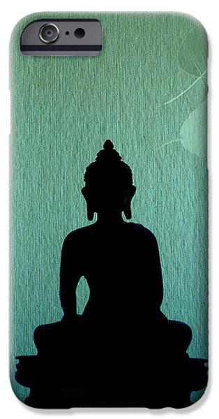 Bodhisatva iPhone Cases - Buddha And Bodhi Leaves iPhone Case by Niteen Kasle