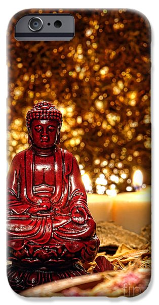 Buddha and Candles iPhone Case by Olivier Le Queinec