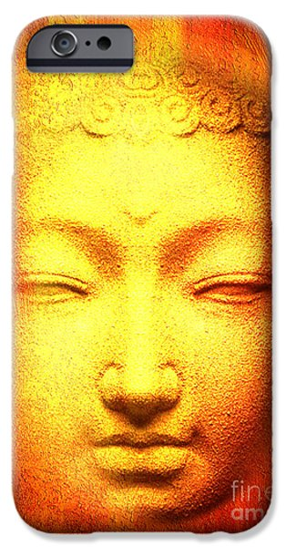 Statue Portrait Mixed Media iPhone Cases - Buddha Apparition iPhone Case by Khalil Houri