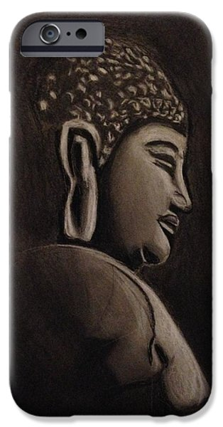 Statue Portrait Drawings iPhone Cases - Buddha  iPhone Case by Donetta Jamieson