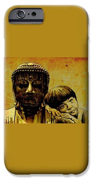 buddha girl iPhone Case by Richard Tito