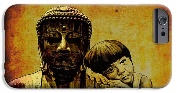 Statue Portrait Mixed Media iPhone Cases - Buddha Girl iPhone Case by Richard Tito