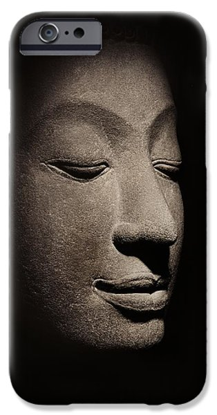 Head Stone iPhone Cases - Buddha head from the early Ayutthaya Period iPhone Case by Siamese School