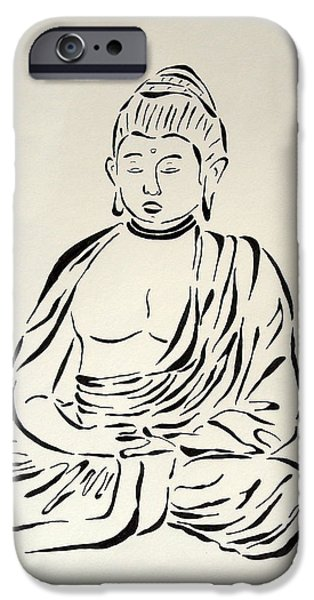 Buddhism Drawings iPhone Cases - Buddha in Black and White iPhone Case by Pamela Allegretto