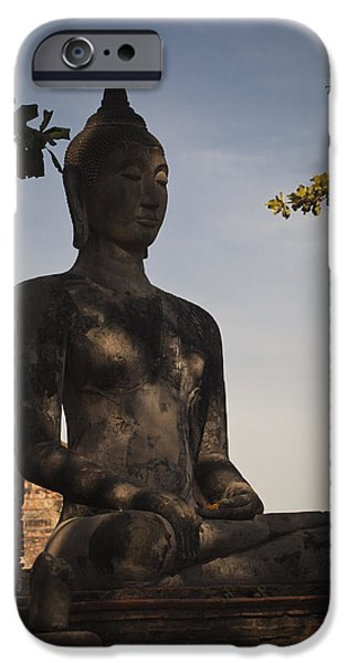 Buddhist iPhone Cases - Buddha in Wat Mahathat iPhone Case by Maria Heyens