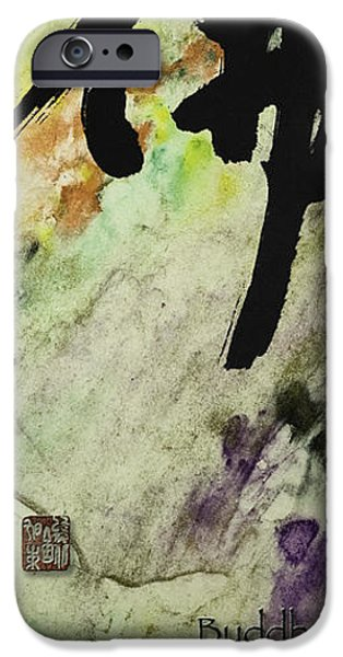 Buddha ink brush calligraphy iPhone Case by Peter v Quenter