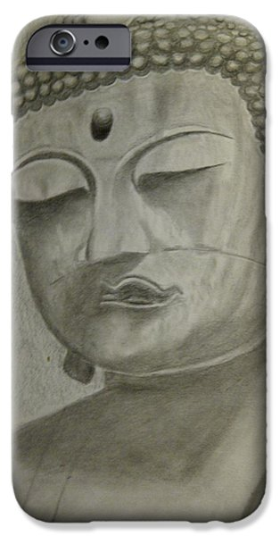 Religious Drawings iPhone Cases - Buddha iPhone Case by Irving Starr