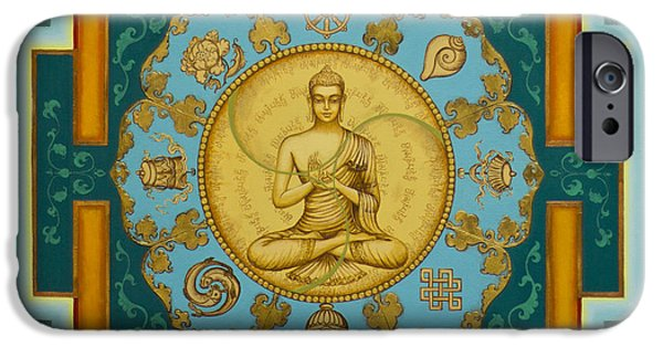 Tibetan Buddhism iPhone Cases - Buddha. Jewels of Dharma iPhone Case by Yuliya Glavnaya