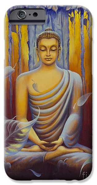 Tibetan Buddhism iPhone Cases - Buddha meditation iPhone Case by Yuliya Glavnaya