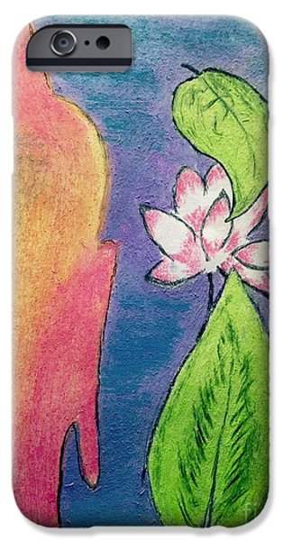 Buddhism Pastels iPhone Cases - Buddha  iPhone Case by Navroz  Raje