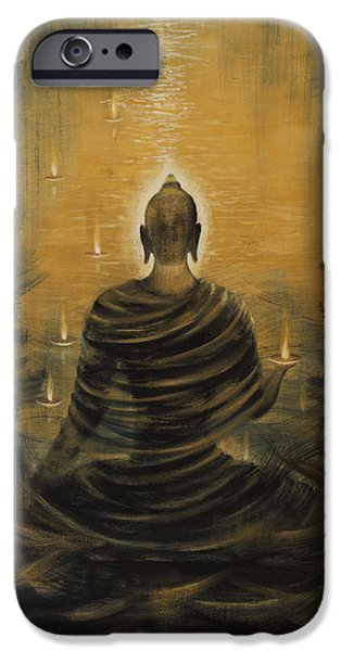 Tibet iPhone Cases - Buddha. Nirvana ocean iPhone Case by Vrindavan Das