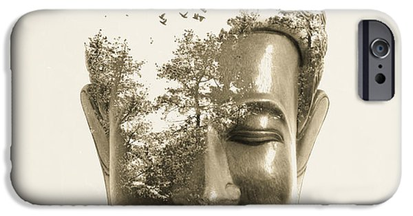 Buddhism Digital iPhone Cases - Buddha non attachment iPhone Case by Budi Kwan