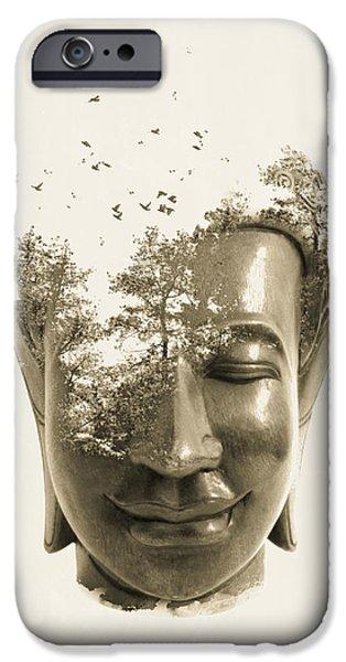 Buddha non attachment iPhone Case by Budi Kwan