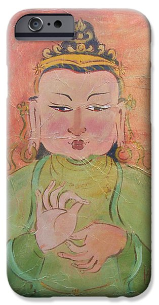 Sally Huss iPhone Cases - Buddha of Contentment iPhone Case by Sally Huss