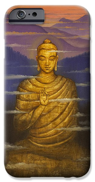 Tibetan Buddhism iPhone Cases - Buddha. Passing clouds iPhone Case by Vrindavan Das