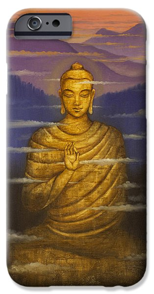 Transformation iPhone Cases - Buddha. Passing clouds iPhone Case by Vrindavan Das