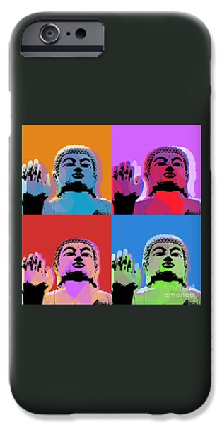 Siddharta iPhone Cases - Buddha Pop Art - 4 panels iPhone Case by Jean luc Comperat