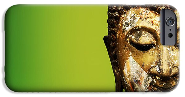 Statue Portrait Mixed Media iPhone Cases - Buddha portrait  iPhone Case by Thanes